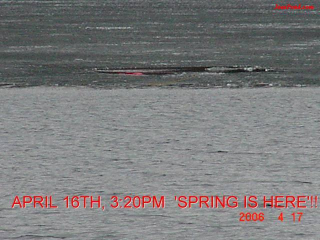 April 21 in the afternoon at x:xx, the ice out ended with one man winning!!